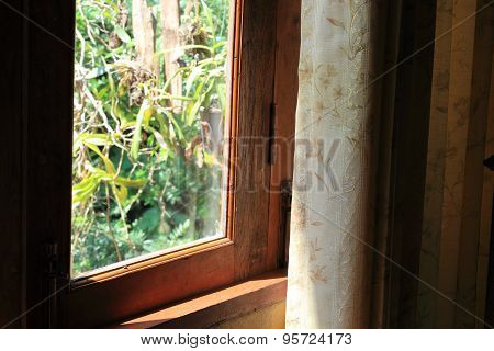 Curtain At The Window In Morning