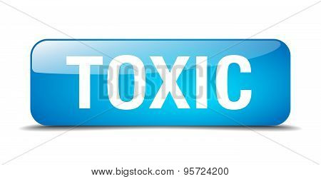 Toxic Blue Square 3D Realistic Isolated Web Button