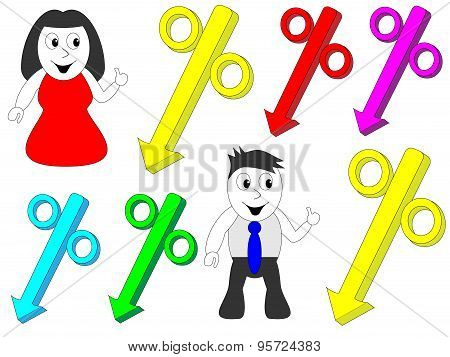 Man and woman pointing to the percentage