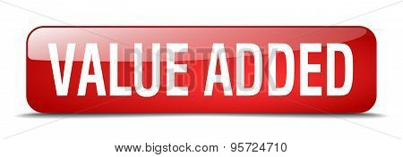 Value Added Red Square 3D Realistic Isolated Web Button