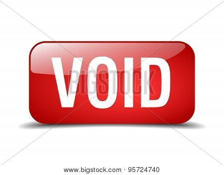 Void Red Square 3D Realistic Isolated Web Button