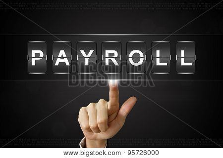 Business Hand Clicking Payroll On Flipboard