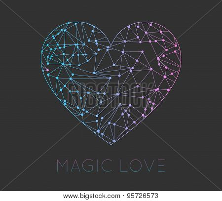 Set Of Heart Geometric Color Hipster Shapes