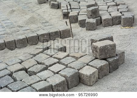 Road Construction With Cobblestone
