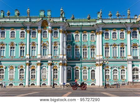Winter Palace Square With Horse