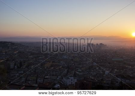 View On Old Town And Centro Direzionale In Naples, Italy