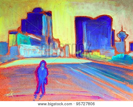 Painting Of The Man In Vancouver City.