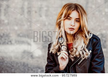 young hipster woman in the city, spring time