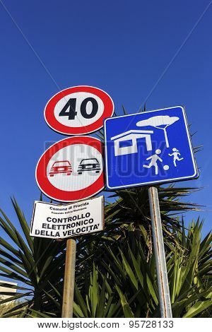 Signs In Procida, Italy