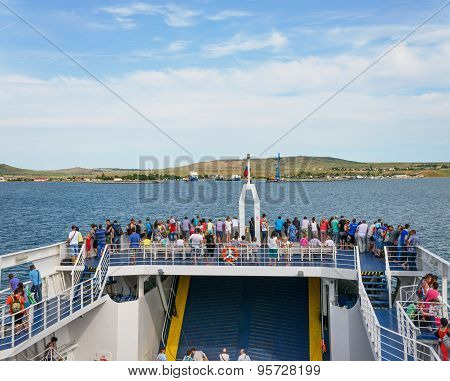 Tourists Are On Ferry Boat In Kerch Strait, Russia.