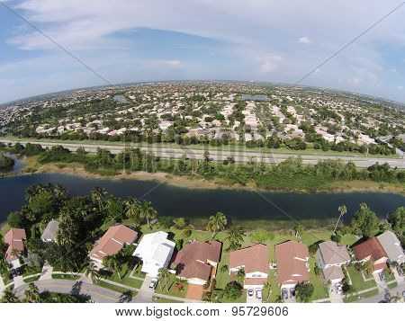 Suburban Homes In South Florida Aerial
