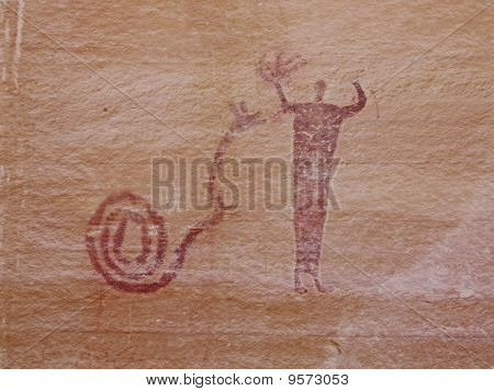 Petroglyph of Man and Snake