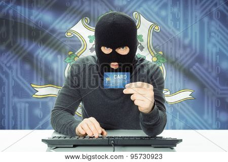 Hacker Holding Credit Card And Usa State Flag On Background - Connecticut