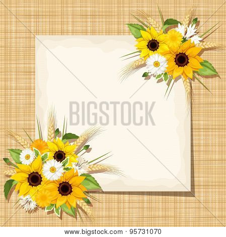 Vector card with sunflowers, daisy and ears of wheat on a sacking background. Eps-10.