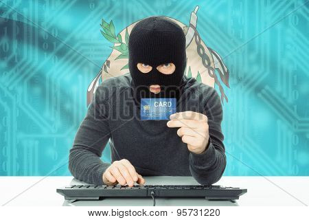 Hacker Holding Credit Card And Usa State Flag On Background - Oklahoma