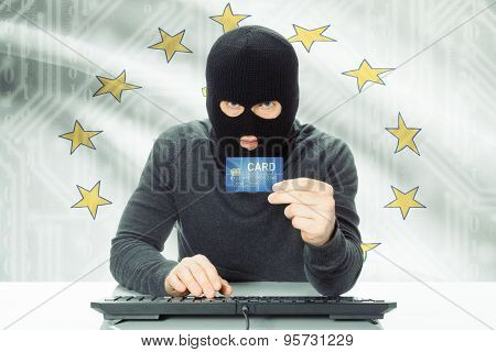 Hacker Holding Credit Card And Usa State Flag On Background - Rhode Island