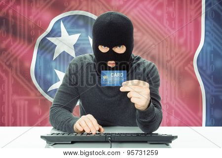 Hacker Holding Credit Card And Usa State Flag On Background - Tennessee