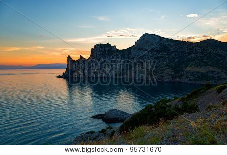 Sunset In Settlement  New World, A View Of  Blue Bay, Imperial Beach And  Mountain Karaul-oba, Crime