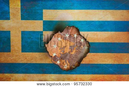 Greek flag over map of Europe
