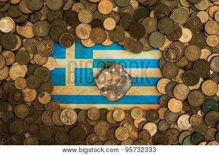 grunge burnt Greek flag on euro coins background