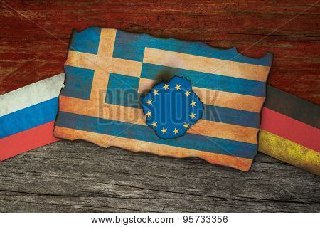 Greek financial crisis concept background
