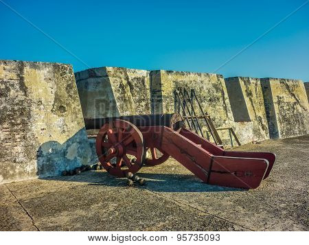 Colonial War Ancient Cannon In Cartagena Fortress