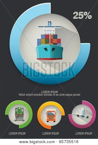 Transportation infographics elements and icons. Vector illustraion.