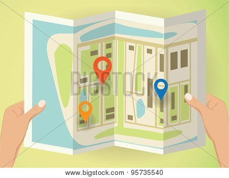 hands holding a map with pins. Vector illustration