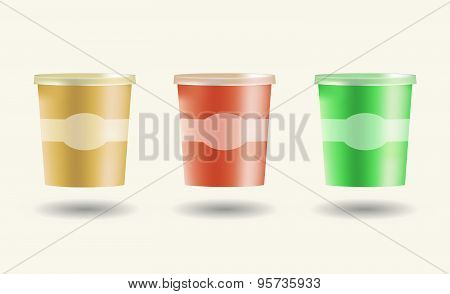 Mock Up Set Food Plastic Tub Bucket Container For Dessert