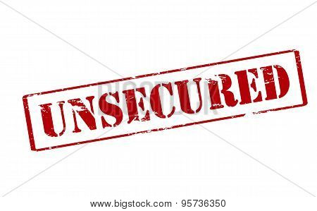 Rubber stamp with word unsecured inside vector illustration