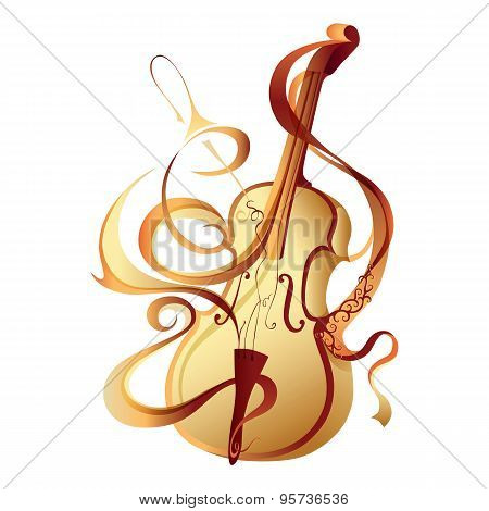 Abstract vector musical instrument gold violin