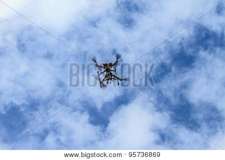 flying drone on the sky