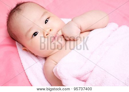 Asian Baby Girl Whit Pink Towel