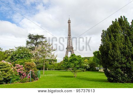 Champ De Mars Park With Eiffel Tower