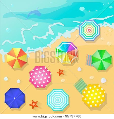 Summer beach in flat design style. Shell and towel, starfish and summertime, relaxation summer touri