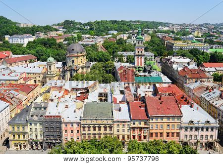 Air View On The Central Part Of Lviv City.