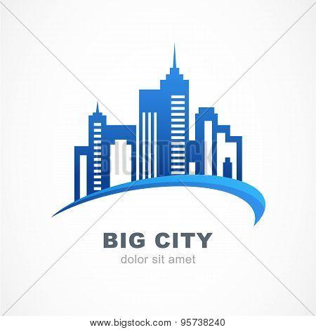 Blue City Buildings Silhouette. Vector Logo Design Template.