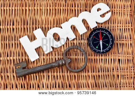 Wood Sign Home, Old Vintage Key And Compass