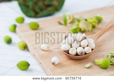 Close Up Lotus Seed On Wooden Spoon
