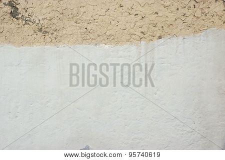 Old Cracked Concrete Beige Wall With White Painted Surface Background