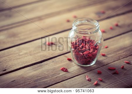 Goji Berry (wolfberry) On Wooden Table