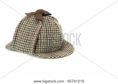 Close-up Of Sherlock Holmes Deerstalker Cap Isolated