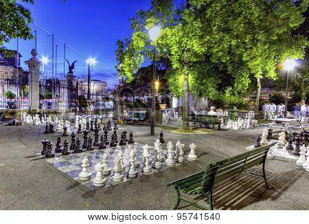 Outdoor chessgame, Bastions park, Geneva, Switzerland, HDR