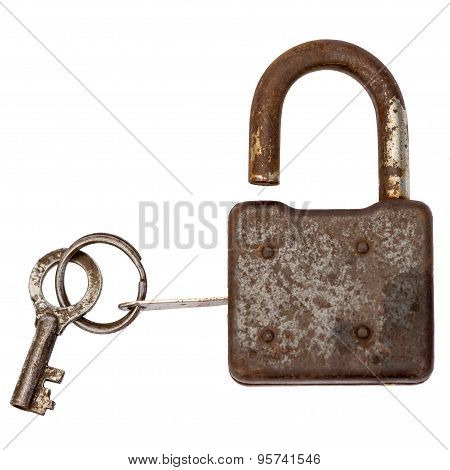 Old Master Key Rusty And Key Lock Isolation