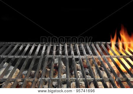 Flaming Bbq Charcoal Grill Close-up Background