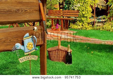 Outdoor Backyard  Bbq Grill Party Or Picnic Scene In The Summer Garden