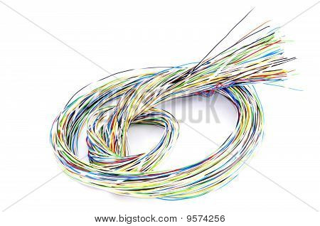 Multicolored Phone Cable Knot Over White Background Concept Switching Node Or Knot