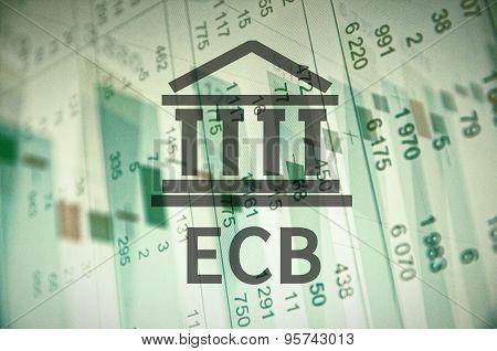 Building icon and inscription Ecb