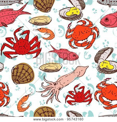 Seafood. seamless background