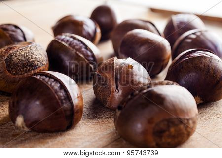 Chestnuts on cutting board